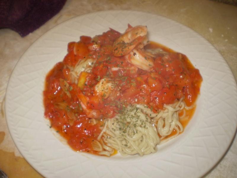 Shrimp Pomodoro w/ homemade GFCF Pasta